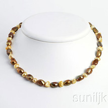 Sterling Silver Champagne & Golden Yellow Freshwater Cultured Pearl Neck... - $28.02