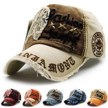 Men Women Baseball Cap Letters Embroidery Peaked Cap Denim Distressed Ha... - $22.25
