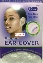 12 PACK PLASTIC EAR COVER WATER & CHEMICAL RESISTANT 12 PCS ONE SIZE FIT MOST