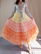 Yellow Pink Layered Tulle Skirt Tiered Tulle Party Outfit Plus Size Party Skirt  image 2