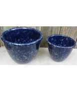 Two Bennington Pottery Blue Agate Glazed Mixing Serving Bowls Vermont - $80.00