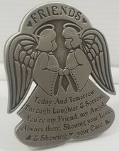 Cathedral Art Metal Friendship Angels Plaque Sign Home Table Top Decor S... - $7.91