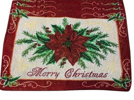"10 MERRY CHRISTMAS Sparkle Poinsettia Table Placemats Jacquard Woven 19""... - $44.99"