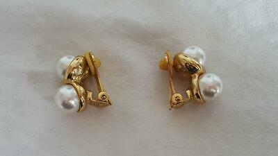 "VINTAGE GREY FAUX PEARL S DESIGN CLIP ON EARRINGS, CHUNKY, GOLDTONE, 3/8""PEARLS,"