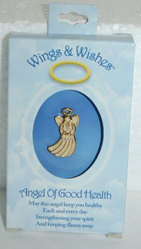 DM Merchandising Wings Wishes Good Health Angel Gold Cream Colored With Stones
