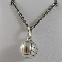 925 Sterling Silver Necklace Burnished Pendant Ball Volleyball Made In Italy - $140.61