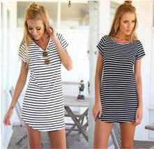 Summer Women Casual Short Sleeve Round Neck Striped Mini Dress Loose T-shirt Tee