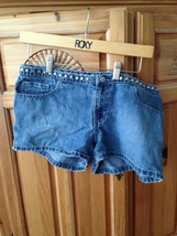 "Ralph Lauren Studded distressed blue jean 21/2"" Shorts Size 9/10 - $24.99"