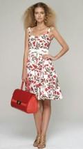 $2K Oscar De La Renta Stunning Red White Floral Runway Dress Us 2 - $495.00