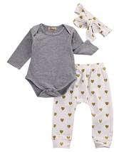 3pcs Newborn Infant Baby Girls Clothes Long Sleeve Gray Bodysuit Tops+He... - $17.41+
