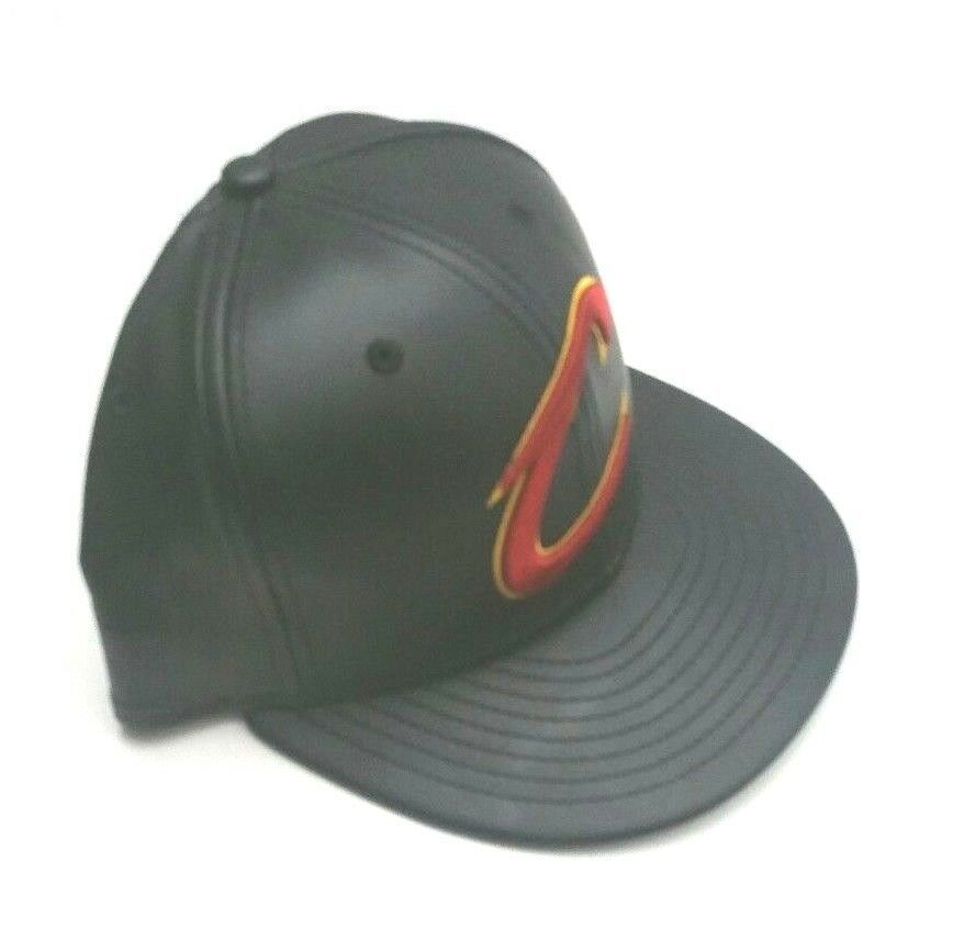 New Era Cleveland Cavaliers 59Fifty PU Leather Fitted Hat Black Size 7 1/8 image 4