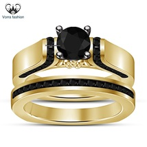 Engagement Bridal Ring Set Round Cut Black CZ 14k Yellow Gold Plated 925 Silver - $84.99