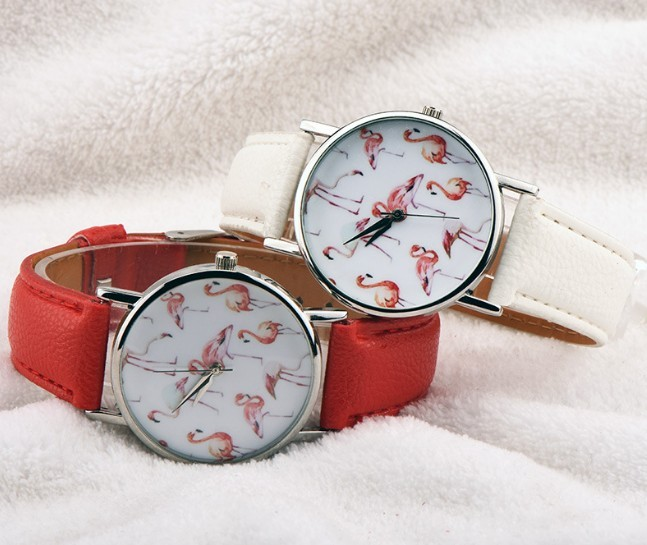 Round Lovely Flamingo Watches Women White Leather Casual Wristwatch