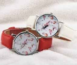Round Lovely Flamingo Watches Women White Leather Casual Wristwatch image 1