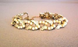 Vintage CORO Bracelet Faux Pearl Leaves Link Gold-tone - $39.00