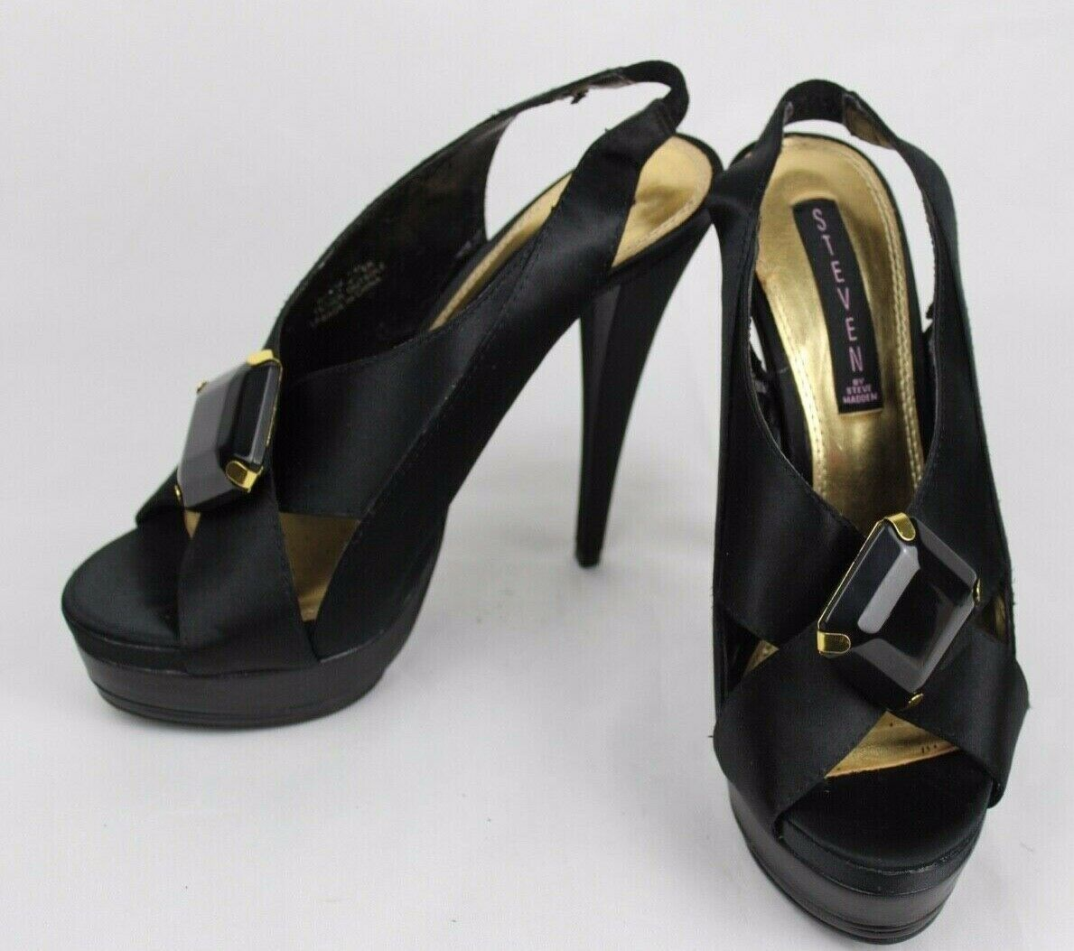 Steven By Steve Madden Rockz women's black satin sandals shoes size 7.5