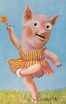 Dancing 1960s Ballerina Pig Glass Moving Eyes Postcard - $11.99