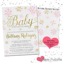 Baby it's cold outside Baby Shower Invitation PINK PRINTABLE Personalized - £10.67 GBP
