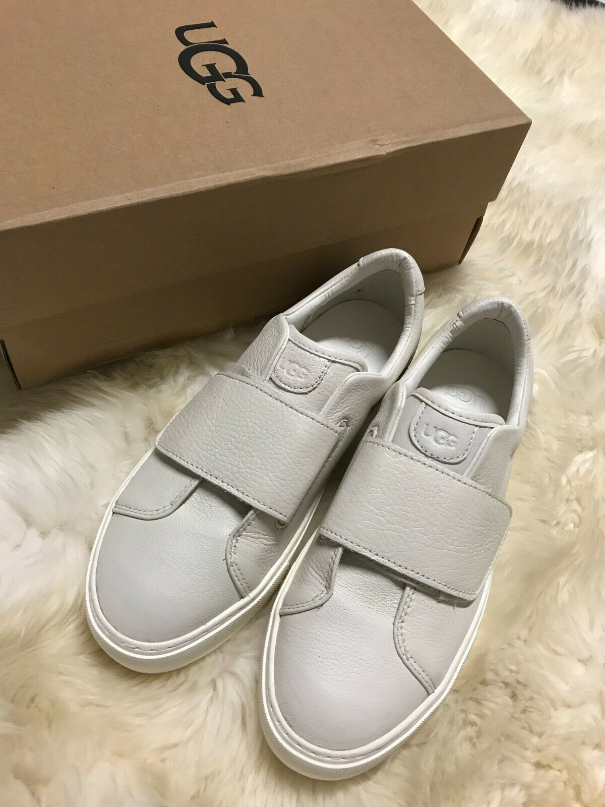 Primary image for UGG NERI LEATHER TRAINER WOMENS WHITE LEATHER CASUAL FASHION SHOES 1103692 US6.5
