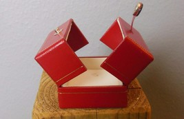 "Vintage Red Leather Jewelry Box 2 x 1.75 x 1.75"" Snap Closure - $13.40"