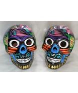 Talavera Clay Sugar Skull Mexico Day of the Dead Black Multi-Color Large S3 - $29.69