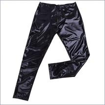 Men's Skin Tight Black Color Faux Latex Zipper Pouch Stretch Pants Leggings  image 4