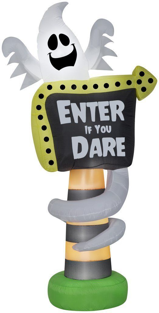 """8' Ghost """"Enter If You Dare"""" Sign Airblown Inflatable Yard Decor"""