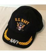US Navy Baseball Cap Hat Mens One Size Black Embroidered Adjustable Strap - $14.99