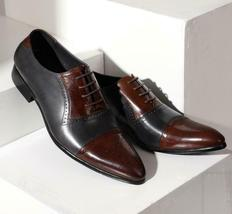 Handmade Men's Black and Brown Two Tone Brogues Dress/Formal Oxford Leather  image 4