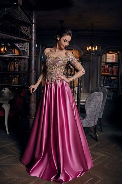off the shoulder prom dress beaded long sleeve a-line satin evening dress,HH044