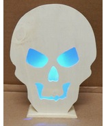 "Halloween LED Flashing Lighted Plaque Wood Creatology 4 1/2"" x 6"" Skull ... - $6.49"