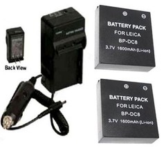 Two 2 BP-DC8 BP-DC8E Batteries+ Charger For Leica X1 Digital Camera BPDC8 BPDC8E - $35.06