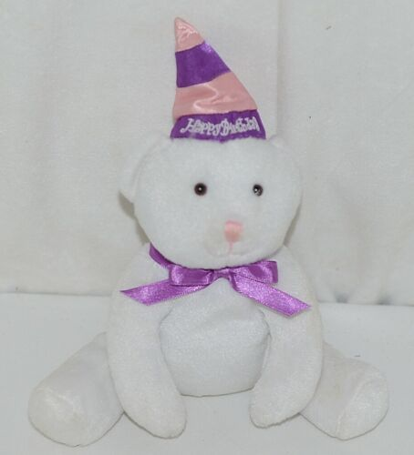 Solid White Plush Bear With Purple Bow Purple Pink Happy Birthday Hat