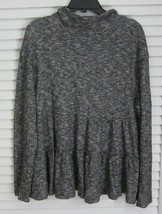 Anthropologie eri + ali thermal waffle long sleeve peplum mock neck sz L - $41.54