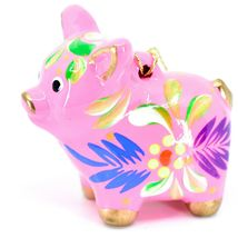 Handcrafted Painted CeramicPink Pig Confetti Ornament Made in Peru image 3