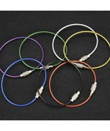 10Pcs Carabiner Key Chain Stainless Steel Wire Key Ring Luggage Tag Loop... - $7.81
