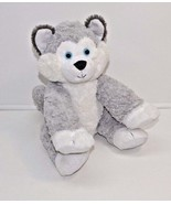 "Build A Bear Happy Husky Dog Grey Blue Eyes Plush Stuffed Animal 16"" - $9.74"