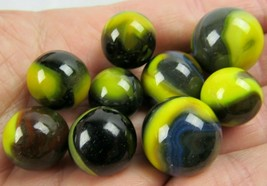 Akro Agate Marble Lot Of 9 Black Yellow Blue Corkscrew Estate Sale - $46.74