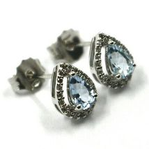 18K WHITE GOLD AQUAMARINE EARRINGS 0.71 CARATS, DROP CUT, DIAMONDS FRAME image 3