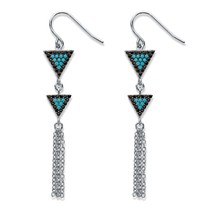 ".33 TCW Black CZ & Blue Crystal Silvertone Triangle Fringe Drop Earrings 2 1/8"" - $23.79"