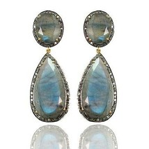 14k Gold Labradorite Dangle Earrings Sterling Silver 1.8 ct Diamond Pave... - $838.53