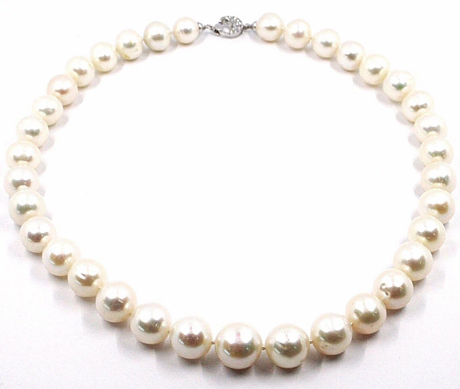 Collier or Blanc 18K, Zircon, Grandes Perles 12 mm, Blanc, Eau Douce