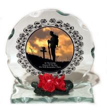 """Remembrance Day Glass Round Plaque, """"We will remember them"""" Special Edit... - $32.28"""