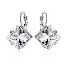 Korean Style Rhombus Silver Color Earrings for Women Girls Wedding Fashion - $9.99