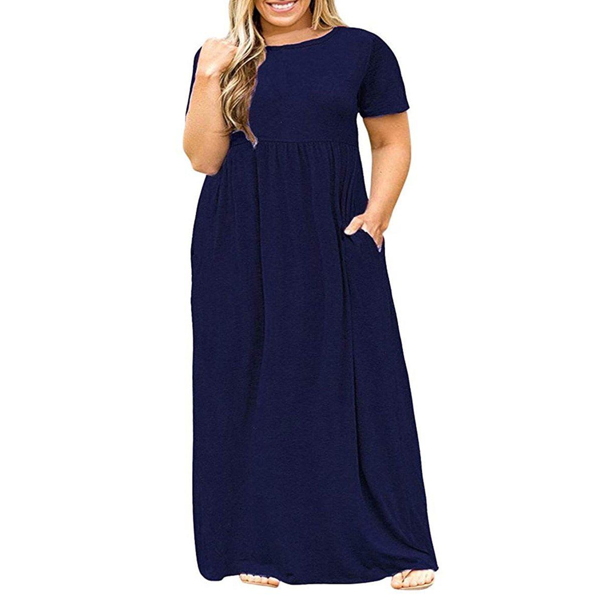 Maternity Dress Solid Color Loose Comfy Mom Dress image 2