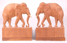Vintage Pair of Hand Carved Wood Elephant Bookends Pachyderm Wild Animal... - $42.06