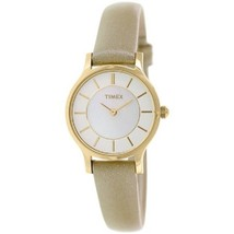 Timex Women's Classic T2P313 Beige Leather Analog Watch - $59.39