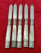 5 Meriden Mother of Pearl  Fruit Knives w/ Matching Silver Ferrules #9858 - $69.00