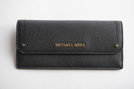 NWT MICHAEL KORS HAYES PEBBLED LEATHER SLIM FLAT WALLET BLACK - $49.49