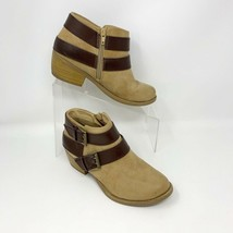 Soda Womens Tan & Brown Vegan Leather Side Zip Block Heeled Booties, Size 6 - $15.79
